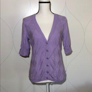 NY & Co short sleeve argyle knit cardigan purple M